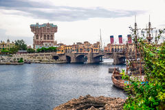 CHIBA, JAPAN: Mediterranean Harbor with Tower of Terror attraction in background in Tokyo Disneysea located in Urayasu, Chiba, Jap Stock Images