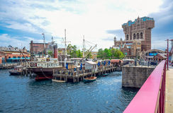 CHIBA, JAPAN: Mediterranean Harbor with Tower of Terror attraction in background in Tokyo Disneysea located in Urayasu, Chiba. Mediterranean Harbor with Tower of Royalty Free Stock Photos