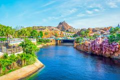 CHIBA, JAPAN: View of Mysterious Island from Mermaid Lagoon in Tokyo Disneysea located in Urayasu, Chiba, Japan. View of Mysterious Island from Mermaid Lagoon in stock photography