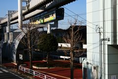 Chiba monorail arriving at Chiba Koen station Royalty Free Stock Photos