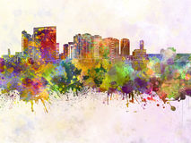 Chiba skyline in watercolor Royalty Free Stock Photography