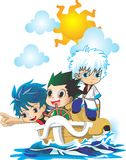 3 chibi anime on boat. Cartoon character bat for t-shirt ,sticker,etc Royalty Free Stock Photos