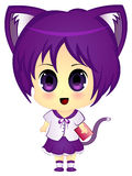 Chibi Anime Cartoon Cat Girl in School Uniform Royalty Free Stock Photography
