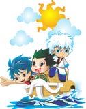 3 chibi anime na łodzi Zdjęcia Royalty Free