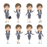 Chibi Brown hair Female Character Business Woman Royalty Free Stock Image