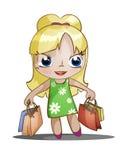 Chibi flicka med köp Royaltyfri Fotografi