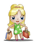 Chibi girl with purchases Royalty Free Stock Photography