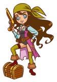 Chibi pirata dziewczyna z proszka pistoletem i skarb klatką piersiową Obrazy Stock