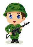 Chibi Soldier. Cute cartoon illustration of a soldier Royalty Free Stock Photos