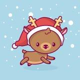 Chibi sveglio adorabile di kawaii funzionamento di vista laterale dei cervi sotto la neve Buon Natale e un nuovo anno felice illustrazione di stock