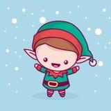 Chibi sveglio adorabile di kawaii l'elfo si rallegra sotto la neve Buon Natale e un nuovo anno felice illustrazione vettoriale