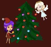 Chibiengel en demon met Kerstmisboom Royalty-vrije Stock Afbeeldingen