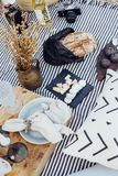 Chic and bohemian picnic stock photo