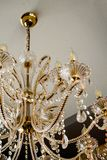 Chic crystal chandelier in the restaurant. Vintage chandelier with crystal. closeup of a floor lamp stock image