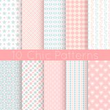 10 Chic different vector seamless patterns. Pink,. White and blue color. Endless texture can be used for printing onto fabric and paper or scrap booking Stock Image