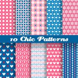 Chic different vector seamless patterns (tiling). 10 Chic different vector seamless patterns (tiling). Deep pink and blue color. Endless texture can be used for Royalty Free Stock Photos