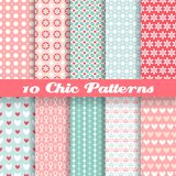Chic different vector seamless patterns (tiling). 10 Chic different vector seamless patterns (tiling). Pink and blue color. Endless texture can be used for vector illustration