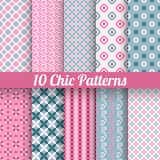 Chic different vector seamless patterns (tiling). 10 Chic different vector seamless patterns (tiling). Pink and blue color. Endless texture for printing onto Royalty Free Stock Photos
