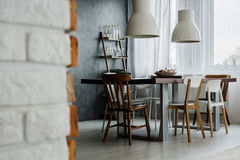 Chic industrial dining room design Royalty Free Stock Image