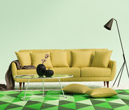 Chic elegant luxury yellow living room. With a green rug royalty free stock photo