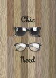 Chic exponeringsglas- och nerdexponeringsglasvektor på det trä stock illustrationer
