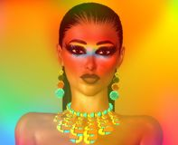 Chic fashion face on gradient background. Of orange, turquoise and gold. Her makeup and accessories speak of the latest fashion and beauty trends Stock Images