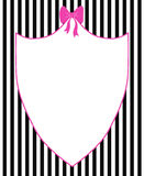 Chic Fashion Frame. Cute pink frame or mirror with a pink bow on a black striped background Stock Images