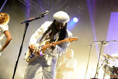 Chic featuring Nile Rodgers (band) performs at Sonar Festival. BARCELONA - JUN 14: Chic featuring Nile Rodgers (band) performs at Sonar Festival on June 14, 2014 Royalty Free Stock Photo