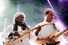 Chic featuring Nile Rodgers (band) performs at Sonar Festival. BARCELONA - JUN 14: Chic featuring Nile Rodgers (band) performs at Sonar Festival on June 14, 2014 Royalty Free Stock Photos