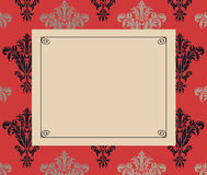 Chic Frame Copy Space on Red and Black Damask Royalty Free Stock Photography
