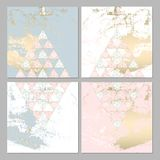 Chic geometric card set. Set of Trendy Chic pastel colored cards with Gold geometric shapes. Abstract unusual worn textures for wedding invitation cards stock illustration