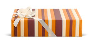 Chic gift box. With a bow on white Stock Image