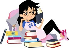Chic Girl reading a book. Cute Vector clip art Woman black hair with glasses. Stock Photos