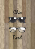 Chic glasses and nerd glasses vector on the wooden. Chic glasses and nerd glasses vector, on the wooden background stock illustration