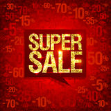 Chic golden super sale poster design, bright red fashion backdrop with discounts Royalty Free Stock Photography