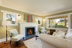 Free Chic Green Living Room With A Traditional Fireplace. Stock Photos - 108454283