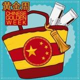 Chic handväska och biljetter för det guld- veckaavbrottet, vektorillustration royaltyfri illustrationer