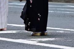 Beauty legs and chic Kimono dress, Japan. Stock Images