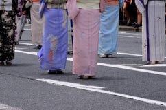 Beauty legs and chic Kimono dress, Japan. Stock Photography