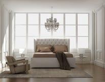 Chic klassiskt elegant lyxigt sovrum royaltyfri fotografi