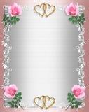 Chic lamentable del satén del color de rosa de la invitación de la boda stock de ilustración