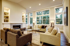 Free Chic Light Living Room Design With Dark Floors. Royalty Free Stock Photography - 84663557