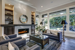Free Chic Living Room Filled With Built-in Fireplace Stock Images - 85565074