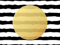 Chic and luxury postcard with gold glitter foil greeting card. Black stripes, golden glittering circle element. EPS 10 vector illustration
