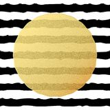 Chic and luxury postcard with gold glitter foil greeting card. Black stripes, golden glittering circle element. EPS 10 royalty free illustration