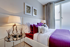 Chic modern bedroom royalty free stock photography
