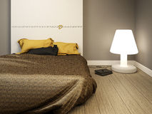 Chic modern bedroom. A young modern luxury bedroom Royalty Free Stock Photo