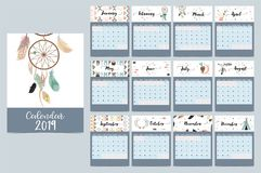 Chic monthly calendar 2019 with tent,whale,feather,arrow,dreamca. Tcher,bear,rabbit,cake,flower and wild in boho and bohemian style royalty free illustration