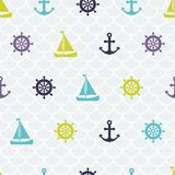 Chic navy seamless pattern - tiling. Ships, Royalty Free Stock Photos