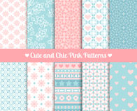 Chic Pink and blue Patterns Stock Images